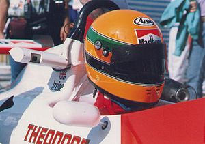 Eddie Irvine - Eddie Irvine at the 1989 Macau Grand Prix. His helmet design was based on that of Ayrton Senna.