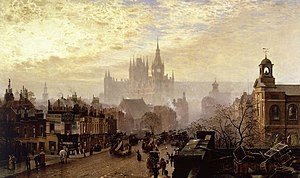 John O'Connor (painter) - From Pentonville Road looking west evening, 1884. Museum of London.