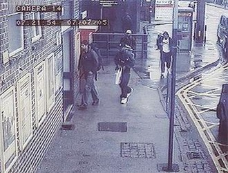 7 July 2005 London bombings - The four bombers captured on CCTV at Luton station at 7:21 am on 7 July 2005. From left to right: Hasib Hussain, Germaine Lindsay, Mohammad Sidique Khan, and Shehzad Tanweer.