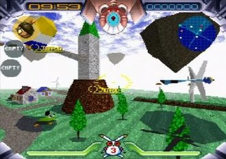 Jumping Flash! - A still image from the first level. The interface displays the radar, time remaining, health and inventory.