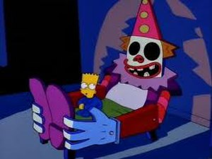 Lisa's First Word - Young Bart in his clown bed, poorly constructed by Homer