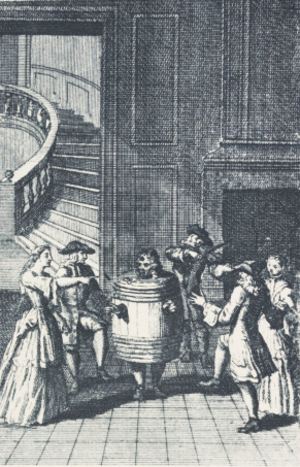 Restoration comedy - Refinement meets burlesque in Restoration comedy. In this scene from George Etherege's Love in a Tub, musicians and well-bred ladies surround a man who is wearing a tub because he has lost his trousers.