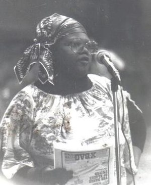 Marion Stamps - 1982 photograph of Stamps speaking at a Chicago city forum.