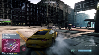 Need for Speed: Most Wanted (2012 video game) - The player's car is being pursued by several police cars during a racing session. This pre-release screenshot also depicts the use of simulated HDRR on the sunny sky and surface lighting.