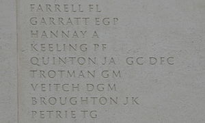 John Quinton - J.A. Quinton listed on the Armed Forces Memorial at the National Memorial Arboretum