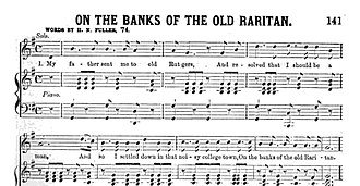 """On the Banks of the Old Raritan - The first few measures of the original version of Rutgers alma mater, """"On the Banks of the Old Raritan"""""""