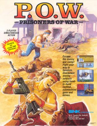 P.O.W.: Prisoners of War - U.S. arcade flyer of P.O.W.: Prisoners of War.
