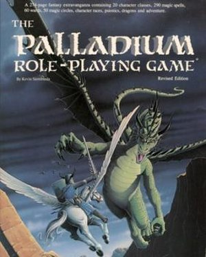 Palladium Fantasy Role-Playing Game - Cover of The Palladium Role-Playing Game, Revised Edition (7th printing) core rulebook, published March 1990, illustrated by Kevin Long.