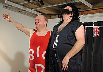 Brian Mitchell and Joseph Nixon - Ross Gurney-Randall and David Mounfield as Big Daddy and Giant Haystacks at the Brighton Media Centre, 2 March 2012 (photograph by Peter Chrisp)