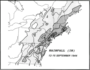 1944 Great Atlantic hurricane - Rainfall from the hurricane across the northeastern United States