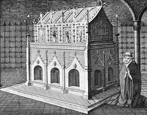 Edmund the Martyr - A depiction of St Edmund's shrine. The shrine was destroyed in 1539.