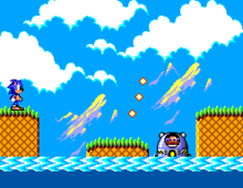 A pixelated image. On the left, Sonic, a cartoonish blue hedgehog, stands on a ledge above water. On the right, Doctor Robotnik, a mustachioed scientist, pilots a submarine firing projectiles at Sonic. The background shows mountains and clouds.