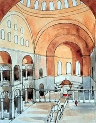 Church of St. Polyeuctus - Conjectural reconstruction of the interior by R.M. Harrison. The exedrae are visible on the left, the ambon and altar in the lower picture.