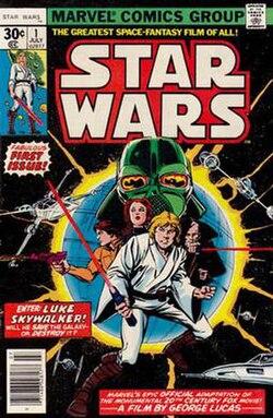IMAGE(http://upload.wikimedia.org/wikipedia/en/thumb/f/f9/Star_Wars_001_1977.jpeg/250px-Star_Wars_001_1977.jpeg)