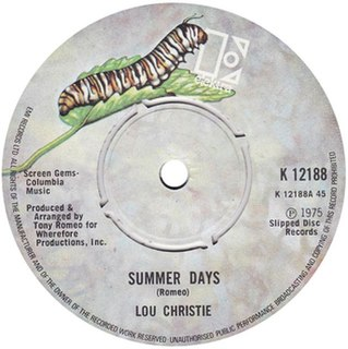 Summer Days (Tony Romeo song) 2021 single by Lou Christie