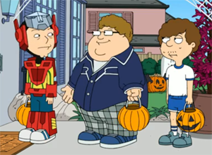 "Steve Smith (American Dad!) - Steve (left), shown without his glasses, after Barry (center) has taken them to complete his Jonah Hill costume, in the 2010 Halloween episode, ""Best Little Horror House in Langley Falls"". At right is Snot, another of Steve's friends."