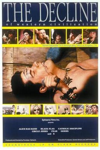 The Decline of Western Civilization - Film poster depicting Germs singer Darby Crash