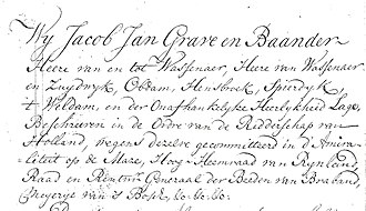 Heerlijkheid - Titles of Jacob Jan, Lord of Wassenaar (1765)
