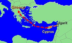 Myrrha - A possible route for the Myrrha myth's spread: the red is certain, the orange uncertain.