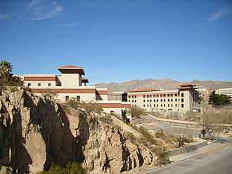 University of Texas at El Paso - Modeled after Bhutanese monasteries, or Dzong architecture. To the left is the College of Business, to the right the College of Engineering