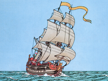Drawing of a wooden ship with a unicorn figurehead sailing in the sea