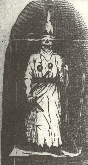Veiled Prophet Ball -  The original figure of the Veiled Prophet emphasized force with shotgun and pistol in hand (and another shotgun at the ready).