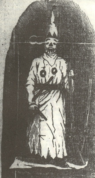 Veiled Prophet Ball - Drawing of the Veiled Prophet with shotgun and pistol in hand; another shotgun is at the side, 1870s