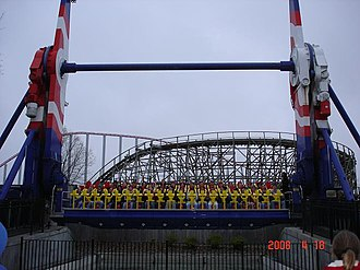 Top Spin (ride) - Worlds of Fun's Thunderhawk about to launch.