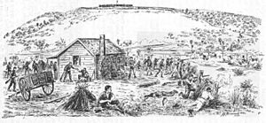 First Taranaki War - Troops defend Jury's farmhouse in the Battle of Waireka, by A. H. Messenger.