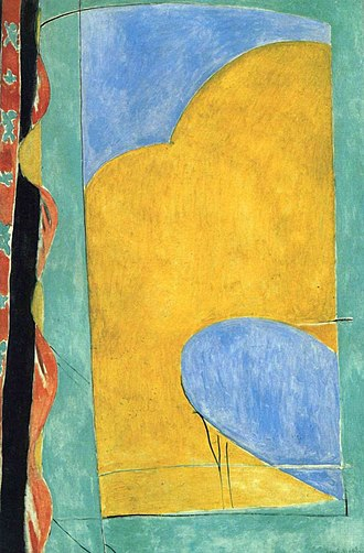 Abstract art - Henri Matisse, The Yellow Curtain, 1915. With his Fauvist color and drawing Matisse comes very close to pure abstraction.