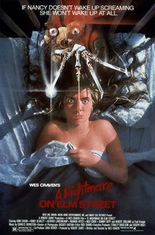Poster for film featuring a woman lying face up in bed, eyes wide, a scary monster above her with knife fingers.