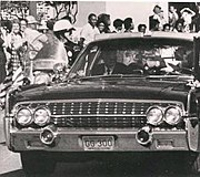 Photo of presidential limousine by Ike Altgens taken between the first and second shots that hit President Kennedy (detail)