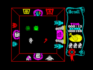 Atic Atac - A screenshot from the game, showing a room surrounded by locked doors, and the rotting chicken energy meter on the right