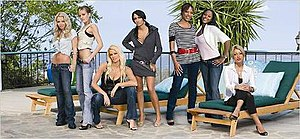 """Bad Girls Club (season 1) - The original seven """"bad girls"""" of season one: Kerry, Zara, Jodie, Aimee, Ty, Leslie, and Ripsi (from left to right)"""