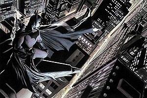 Gotham City - Batman overlooks Gotham, his home city. Art by Alex Ross.