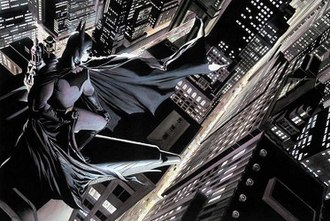 Gotham City - Batman overlooks Gotham, his home city. Art by Alex Ross.