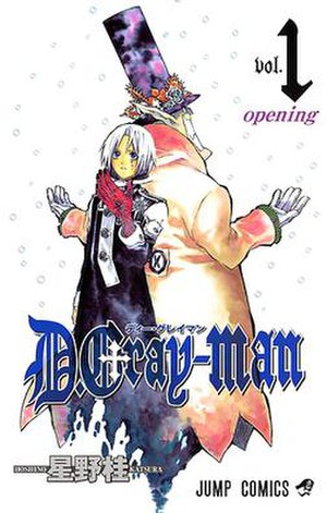 D.Gray-man - Cover of the first Japanese manga volume, with Allen Walker and the Millennium Earl