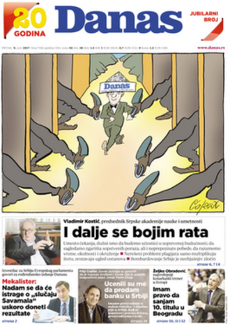 Danas (newspaper) - 9 June 2017 front page (20th anniversary edition)