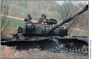 Battle of Najaf (2003) - Destroyed Iraqi Asad Babil tank on Highway 9 outside Najaf