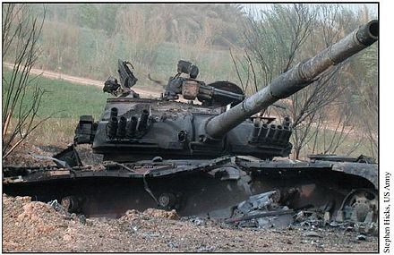 Destroyed Iraqi T-72 tank on Highway 9 outside Najaf DestroyedT-72outsidenajaf.jpg
