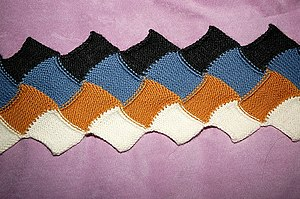Entrelac - Wrong-side detail of scarf in entrelac, four colors