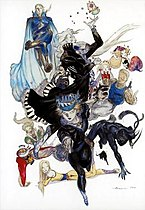 An artwork by Yoshitaka Amano depicting a group of fourteen characters, the playable cast of Final Fantasy VI
