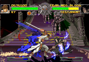 Guilty Gear (video game) - A typical battle in Guilty Gear, featuring Ky Kiske and Testament. The upper bar shows the character's health while the bottom bar is the tension gauge. The red orbs under the health bar displays the rounds one have won.