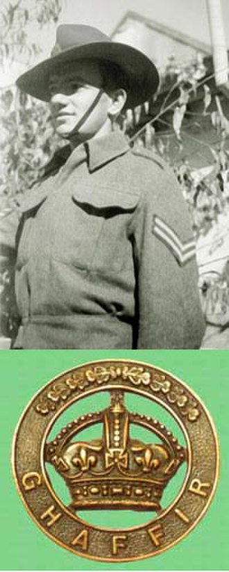 "Jewish Settlement Police - A ""ghaffir"" (special policeman), of corporal rank, 1942, and a Ghaffir cap badge."