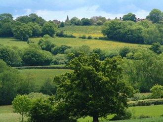 High Weald Area of Outstanding Natural Beauty - Typical view of a ridge top village in the High Weald AONB