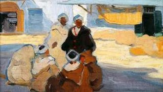 Hilda Rix Nicholas - Detail of Men in the Market Place, Tangier (1914), showing a typical subject of Rix Nicholas's Moroccan work, and her post-impressionist style adopted during this period.