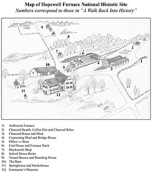 Hopewell Furnace National Historic Site - Image: Hopewell Furnace National Historical Site Grounds Map