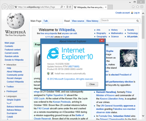 Internet Explorer 10 - Internet Explorer 10 (Desktop version) in Windows 8, showing Wikipedia
