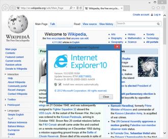 Internet Explorer 10 - Internet Explorer 10 (Desktop version) in Windows 8, showing Wikipedia