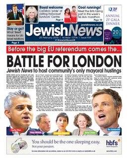 <i>Jewish News</i> Free weekly tabloid Jewish newspaper published in the United Kingdom
